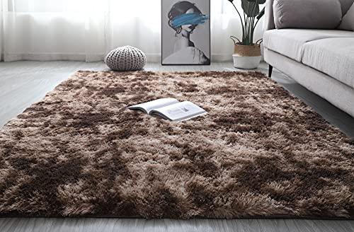 Fluffy Area Rug Extra Soft Anti-Slip Indoor Kids Large Plush Carpet for Bedroom Living Room Family Luxury Tie-Dye Multiple Size Velvet Rug (Brown, 140x200cm(4.6x6.6ft))…