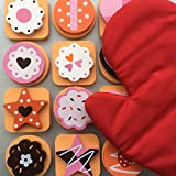 Bee Smart - Wooden Pretend Play Food Cookie Set, Magnetic Cookies with Swappable Toppings, 25 Pieces