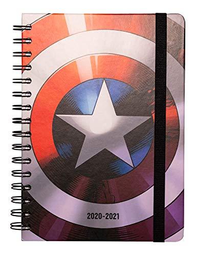 Grupo Erik ASVA52013 - Agenda Escolar 2020/2021 A5 Semana vista Marvel Escudo, Anual (14.8x21 cm)