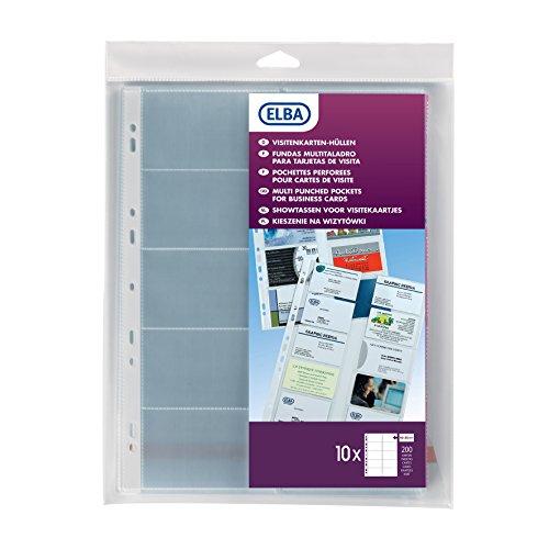 Elba 100206988 - Buste con porta biglietti da visita, formato A4, in PVC, per biglietti da 55 x 95 mm, 10 pezzi