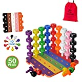 Patterned Stacking Peg Board Set Toy   JUMBO PACK   Montessori Occupational Therapy Early Learning For Fine Motor Skills, Ideal for Toddlers and Preschooler, Includes 50 Plastic Pegs & 2 Boards