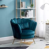 Velvet Upholstered Living Room Chair Club Chair Petal Leisure Accent Barrel Dining Chair Single Sofa Seat with Pillow Guest Chair - Teal Blue