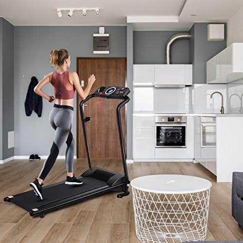 GYMAX Folding Treadmill, Electric Motorized Running Walking Machine with LCD Monitor & Cup Holder, Portable Easy Assembly Treadmill for Home Office Apartment 6