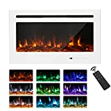 Maxhonor Electric Fireplace Wall Mounted Insert Heater, Glass Panel with Touch Screen or Remote Control, 1500/750W (White, 36'')