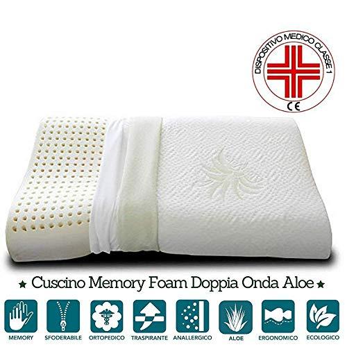 EVERGREENWEB - Cuscino 100% Memory Foam CERVICALE 40x70cm con Fodera Aloe Vera e Cotone Naturale...