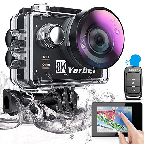 Yarber 8K 20MP Action Cam WiFi Touch Screen EIS Comando Vocale 40m Fotocamera Subacquea 8 Volte Zoom Ultra Grandangolare 170 ° Videocamera con Telecomando e 2 Batterie 1050mAh