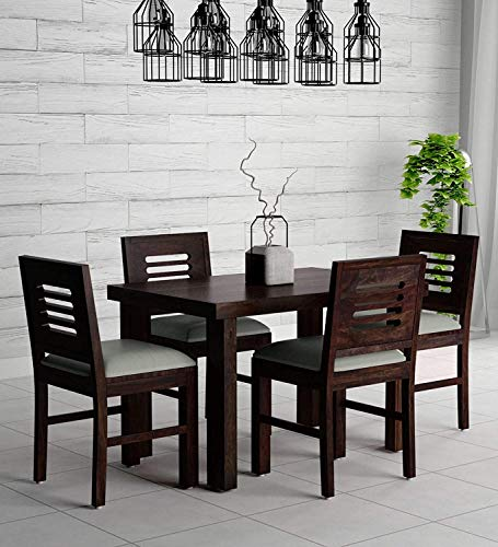 Corazzin Wood Lakewood Sheesham Wood Dining Table 4 Seater | Wooden Dining Room Furniture | 4 Chairs with Cushion | Warm Chestnut Finish