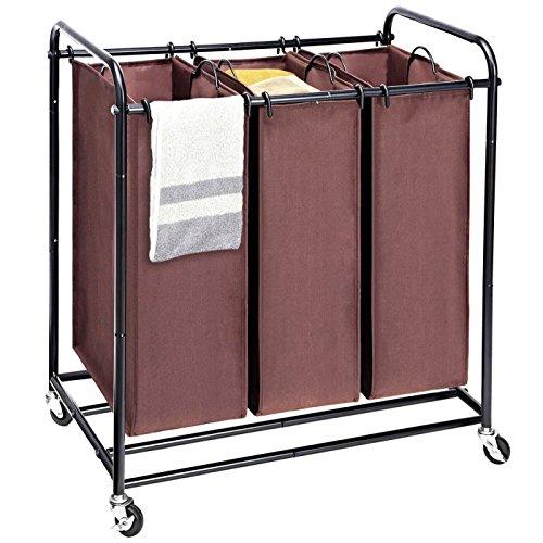Umi. by Amazon - Wäschesortierer mit 3 abnehmbaren Taschen, Wäschekorb Wäschewagen mit 4 Rädern, Wäschesortierer mit 3 x 45 Liter- Braun