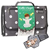 Portable Changing Pad Travel Kit - Baby Lightweight Waterproof Infant Compact Clutch Station with Detachable Foldable Mat with Built-in Cushion Storage Pockets Wrist Strap Easy to Clean with Wipes