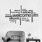 Pegatina de pared de vinilo multilingüe de bienvenida, cartel de controlador de videojuegos de bienvenida, pegatina de pared para despegar y pegar