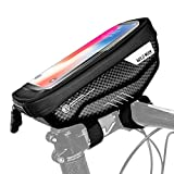 WILD MAN Bike Phone Bag Bicycle Phone Mount Bag Bike Storage Bag MTB Waterproof Handlebar Bag Top Tube Storage Bag Bicycle Package Bag Bike Front Frame Bag Cycling Touch Screen Phone Holder Case E1