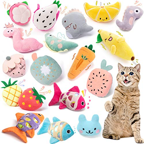 18-Pieces-Cat-Catnip-Toys-Kitten-Chew-Toys-Cute-Cat-Teeth-Cleaning-Toys-Catnip-Refillable-Toys-Squeaky-Cat-Toys-Interactive-Catnip-Cat-Kicker-Toys-for-Cat-Kitten-Pet-Releasing-Stress-Playing-Chewing