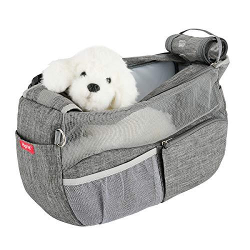 Highkit Tragetuch Hund Atmungsaktiv Haustier Schultertasche Verstellbare Schultergurt mit gepolsterter für Kleine Hunde und Katze(Grau