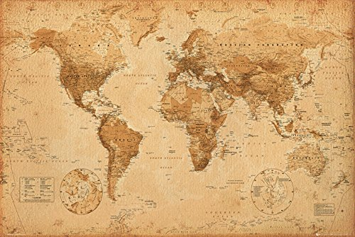 GB Eye LTD, Carte du Monde, Antique Style, Poster, 61 x 91,5 cm