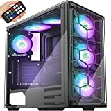 MUSETEX Phantom Black ATX Mid-Tower Case with USB 3.0 and 6 ×120mm ARGB Fans, Tempered Glass Panels...