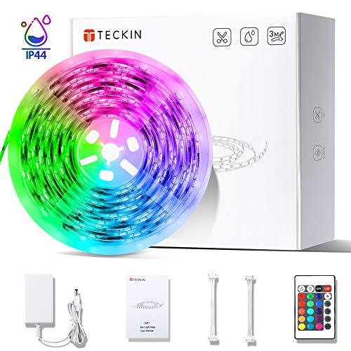 LED Strip RGB 5m, TECKIN LED Streifen Wasserdicht und Selbstklebend mit Fernbedienung und Netzteil LED lichterkette für die Innenbeleuchtung Küchen Bar Flexible Beleuchtungsstreifen