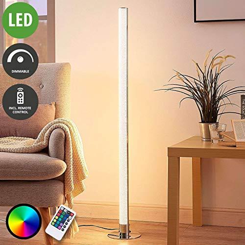 Lampenwelt LED Stehlampe \'Hadis\' dimmbar mit Fernbedienung (Modern) in Chrom u.a. für Wohnzimmer & Esszimmer (1 flammig, A+, inkl. Leuchtmittel) - LED-Stehleuchte, Floor Lamp