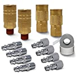 JACO Industrial Quick Connect Air Hose Fittings Plug & Coupler Kit - 1/4' NPT (Set of 12)