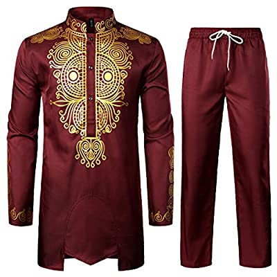 WASHING: Machine Wash Cold Inside Out / Washed without Fading/Do not bleach FABRIC: Polyester&Cotton/ Anti-Shrink / Good Colour-fastness / Breathable / Lightweight /Soft STYLE: 2 Piece African Style Sets - Overshirt and Pants /Long Sleeves/ Henley Ne...