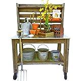 EST. LEE DISPLAY L D 1902 Potting Bench Buffet Table Island Workbench Outdoor Patio Garden Furniture Wood Rolling Cart & Zinc Table-Top w/Black Iron Castors & Brakes