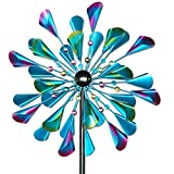 Decoroca Kinetic Wind Spinners Outdoor Metal - 72 Inches Wind Catchers for Outdoor Yard Patio Lawn Garden Decorations, Double Windmill Spinner with Stable Metal Stake