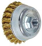 PFERD 82368 Standard Twist Knot Cup Brush, Brass Wire, 3-1/2' Diameter, 5/8-11 External Thread, 0.014 Wire Size, 7/8' Trim Length, 12500 RPM, POP Packaging