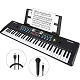 WOSTOO Keyboard Piano, 61 Key Portable Keyboard with Built- In Speaker, Microphone, Piano Stand, Power Supply Teaching Toy Gift for Kids Boy Girl