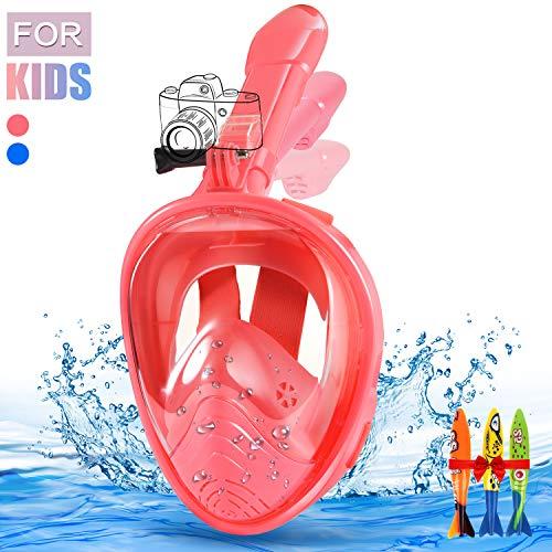 E-MANIS Maschere da Immersione,Snorkeling Maschera Full Face 180° Visibile Antiappannamento Antifiltrazioni Tubo Respiratorio Pieghevole Supporto Telecamera per Bambini (Rosa)