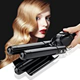 Curling Iron 3 Barrel Hair Waver Iron Black Jumbo Hair Crimper Beach Wave Hair Curler with LCD 176℉-446℉ Temperature Display - Safe Fast Heated Ceramic Wavy Iron Curling Wand 1 inch