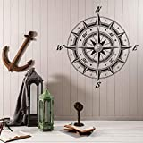 Brújula náutica del mar Rosa de los vientos Decoración de estilo retro Pegatinas de pared Vinilo Calcomanías extraíbles para el hogar Mural Papel tapiz autoadhesivo 84 * 84 cm