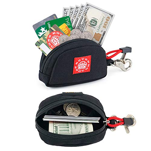 Rough Enough Small Mini Minimalist Zipper Change Credit Card Holder Coin Purse Cute Wallet Zipper Pouch Cash Bag Organizer Earbuds Key Case with Keychain Ring for Business Mens Women School Boy Girl