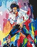Michael Jackson DIY Pintura por Números Para Adultos Niños Pintura por Números con Lienzo de Pinceles y Pinturas Kit Regalo Decoraciones Para el Hogar 40 x 50cm (Sin Marco de)