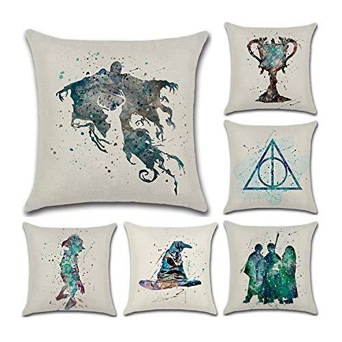 Suave funda decorativa para cojín de CADITEX hecha de lino, ideal para el sofá, el coche o su dormitorio. (6pcs-Harry Potter)