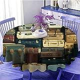 Mantel redondo vintage colorido vintage maleta de cuero antiguo decorativo viaje regalo mapa nostalgia paño de limpieza rápida diámetro 51 pulgadas marrón crema verde