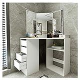 Jungaha Makeup Vanity Table with 3-Panel Mirror Wood Make Up Vanity Dressing Table with Shelves 4 Storage Drawers Corner Dresser Desk Dressing Furniture for Bedroom Bathroom (White)