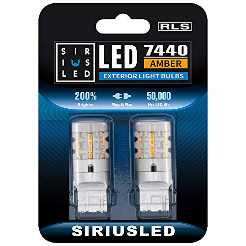 SIRIUSLED 7440 Anti Hyper Flash Built-in load resistor True 25W Yellow Orange Extremely Bright LED Bulb for Turn Signal only 7440A T20 W21W Pack of 2 (Upgrade Version)