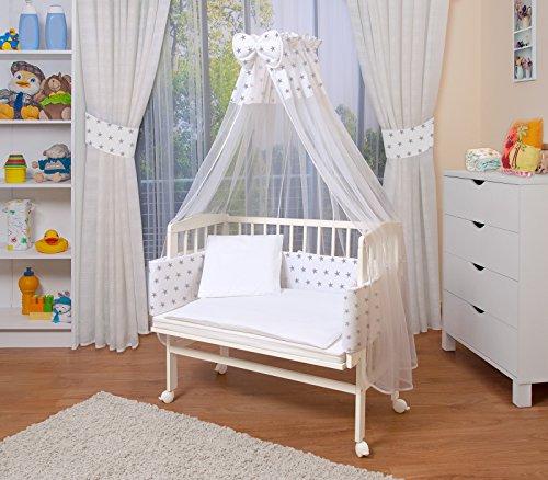 WALDIN Baby Beistellbett mit Matratze und Nestchen, höhen-verstellbar, 16 Modelle wählbar, Buche Massiv-Holz weiß lackiert,Große Liegefläche 90x55cm,Sterne/blau