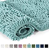 Bathroom Rug Shag Shower Mat Machine-Washable Plush Bath Mats with Water Absorbent Soft Microfibers, 20' W x 32' L, Duck Egg Shell Blue