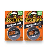 Gorilla Heavy Duty Double Sided Mounting Tape, 1' x 60', Black, (Pack of 2)