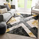 Well Woven Rheta Gold Modern Geometric Stripes & Angles Pattern Area Rug 3x5 (3'11' x 5'3')