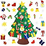 Kids DIY Felt Christmas Tree with 30pcs Set Wall Hanging Detachable Ornaments Xmas Gifts Children Friendly Christmas Home Decorations