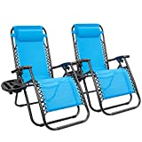 KaiMeng Zero Gravity Folding Lounge Chairs Outdoor Patio Adjustable Reclining Chair with Pillows and Cup Holders for Beach Set of 2 (Blue)