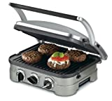 Cuisinart GR-4N 5-in-1 Griddler, 13.5'(L) x 11.5'(W) x 7.12'(H), Silver with Silver/Black Dials