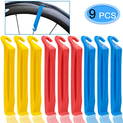 MENOLY 9 Pack Tire Lever for Bicycle Tires, Plastic Tire Lever Set Nylon Tire Repair Tool for Bike Tires