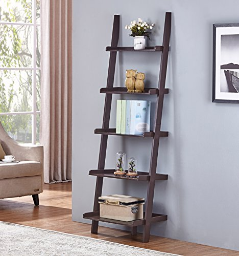 2. Espresso Finish 5 Tier Bookcase Shelf Ladder