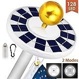 MOICO Solar Flag Pole Light, 128 LED Super-Bright Solar Powered Flagpole Light, 2500mAh Waterproof Solar Light for in-Ground Poles 15-20 Foot, Energy Saving LEDs, Auto On/Off Night Lighting