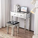 MELLCOM Mirrored Makeup Set, Mirrored Vanity Table with 2 Drawers, Modern Sturdy Office Desk for Home Office, Silver Mirror