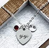 Gigi Necklace - Personalized Birthstone & Initial - Best Gigi Ever Jewelry Gift - Engraved, Hand Stamped