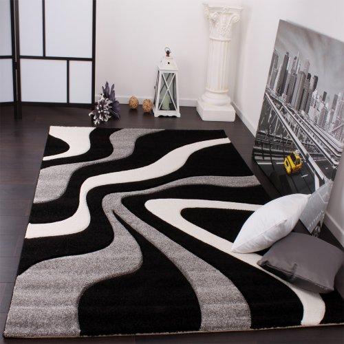 Paco Home Tappeto di Design Motivo Ondulato Orlo Lavorato A Mano nei Colori Nero Grigio Bianco,...