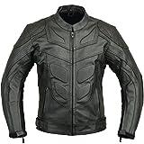 Batman Style Veste de Protection Moto en Cuir,Noir,M